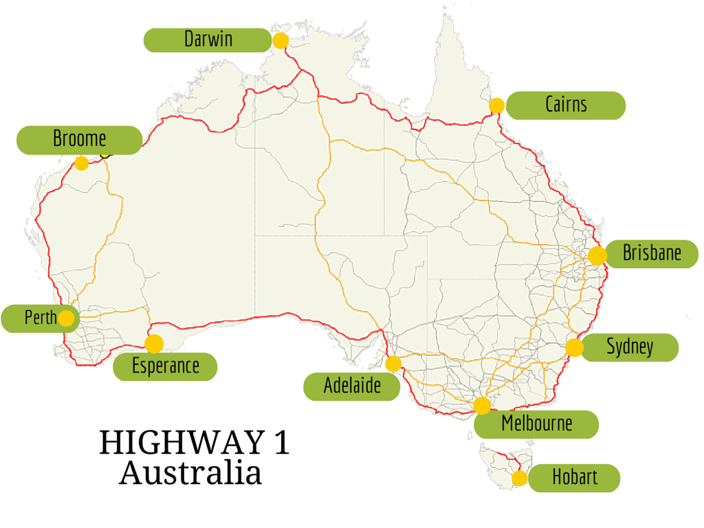 Map Of Australia Highways.How Long Does It Take To Road Trip Australia On Highway 1