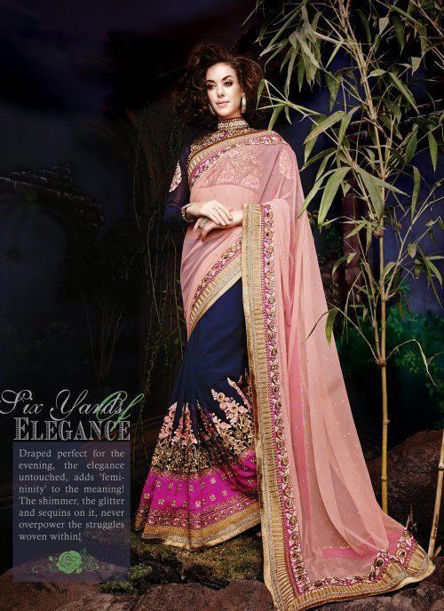 1b2f52a8b1e4 Flamboyant Mistyrose   Navy Blue Half lehenga and Half Saree  wedding   lehnga  Saree  AsianClothes  ethnic  wear  Indian  Fashion  Latest  Outfits   women ...