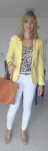Look de trabalho - blazer amarelo - calça branca - animal print - estilo natural - amarelo e branco - amarelo e animal print