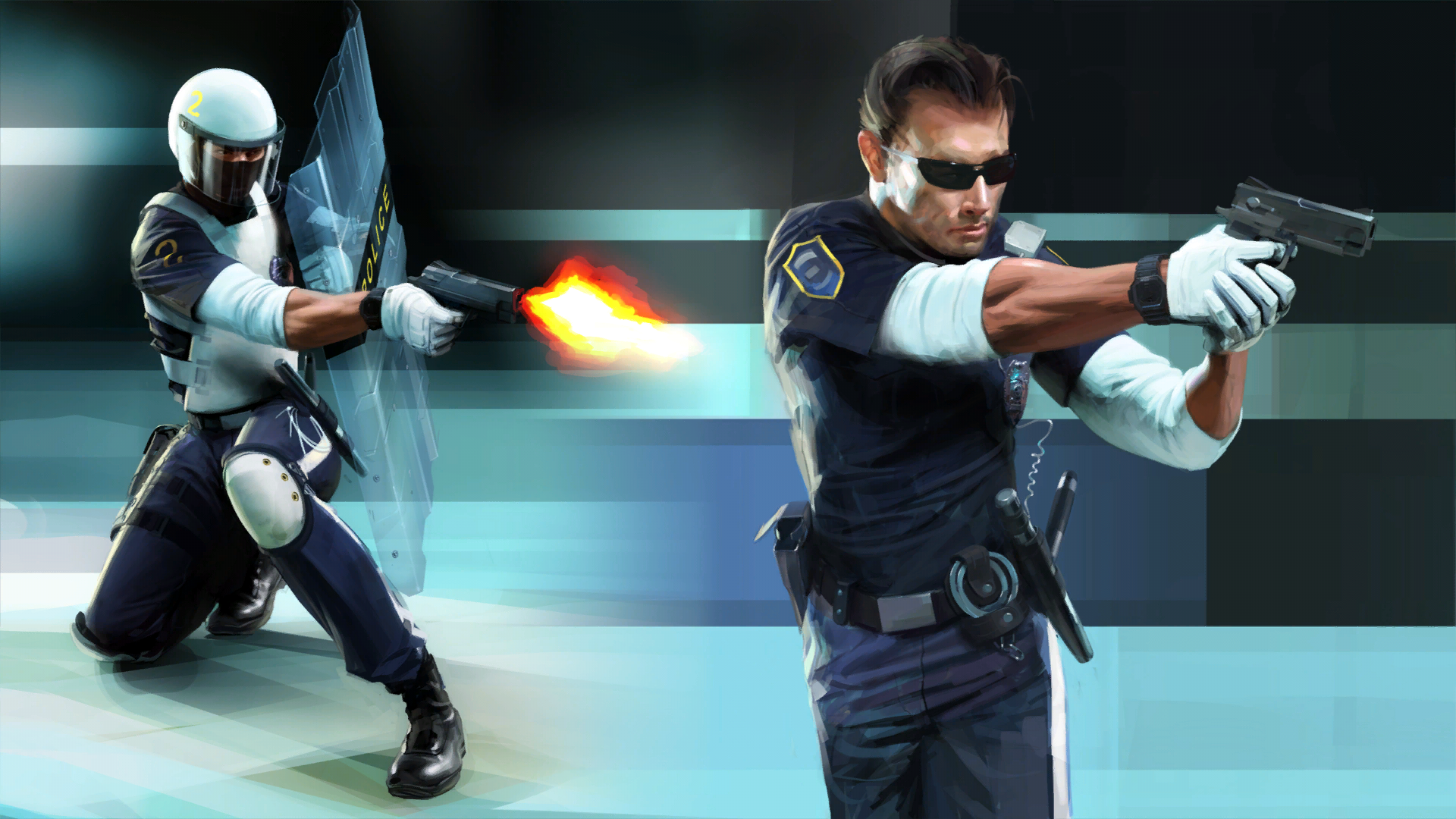 Mirror's  Edge Concept Art (Policeman, sci-fi)
