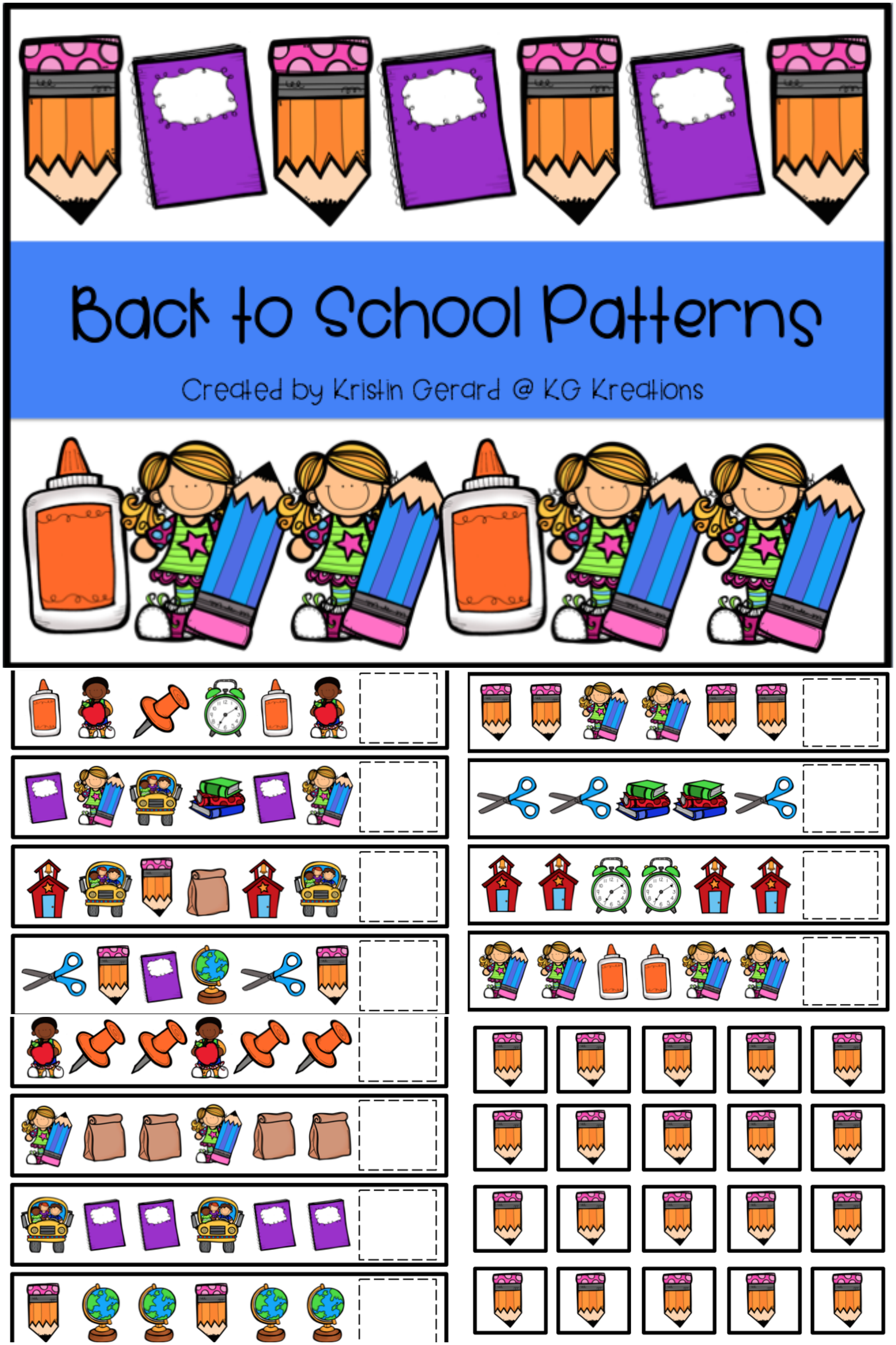 Pattern Cards Back To School