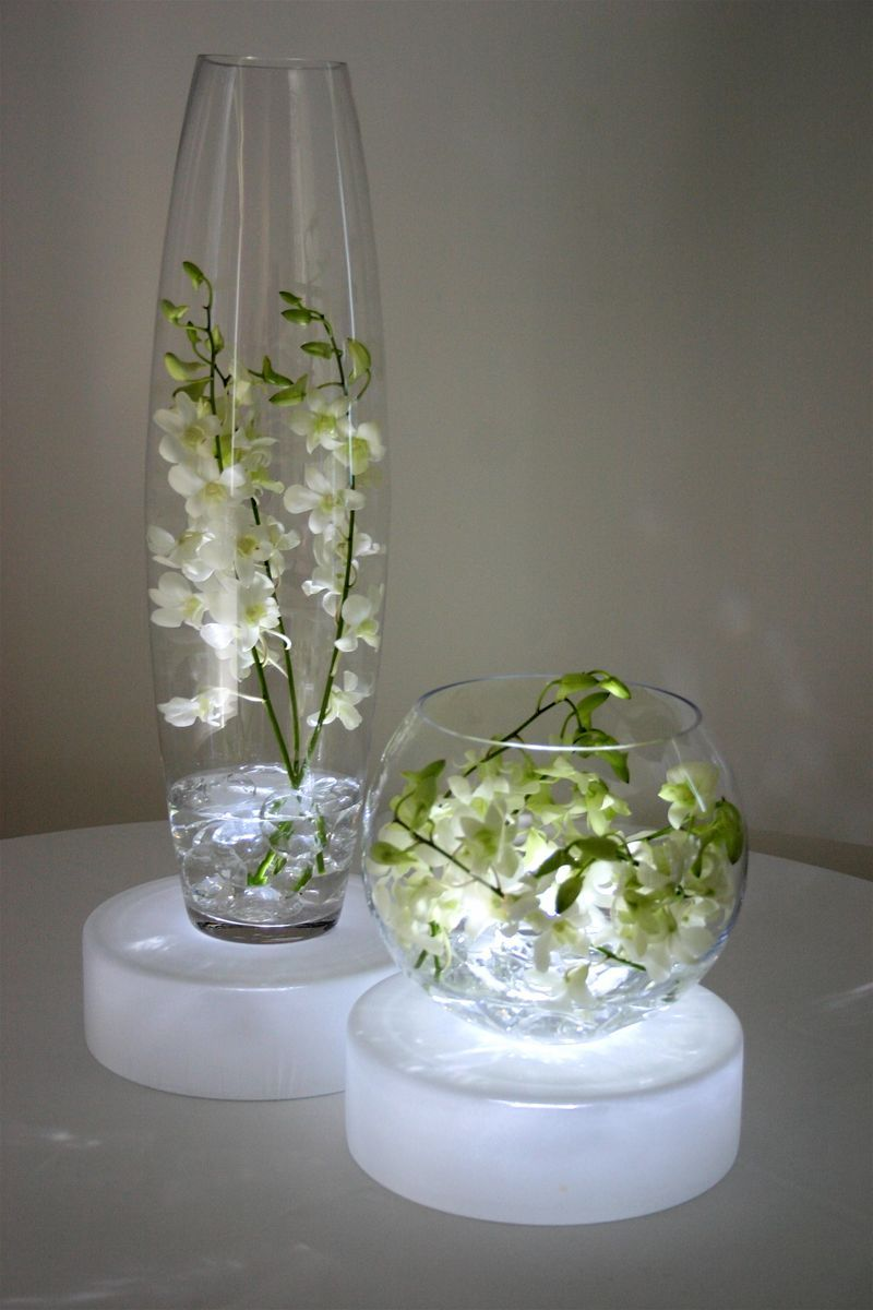 Light boxes under the centerpieces my wedding