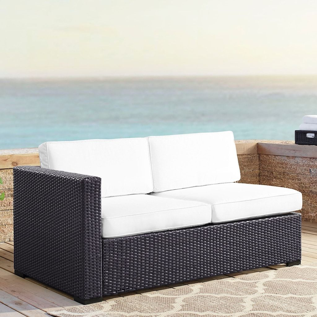 Wondrous Crosley Furniture Biscayne Patio Wicker One Arm Loveseat Pabps2019 Chair Design Images Pabps2019Com