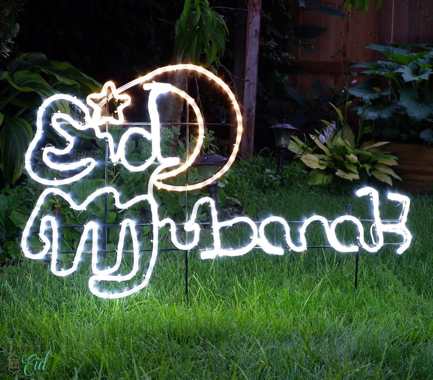 It S The First Few Days Of August And We Re Loving How Our Eid Mubarak Led Lights Up The Backyard Tap To Shop This Look A Eid Mubarak Neon Signs Led Lights