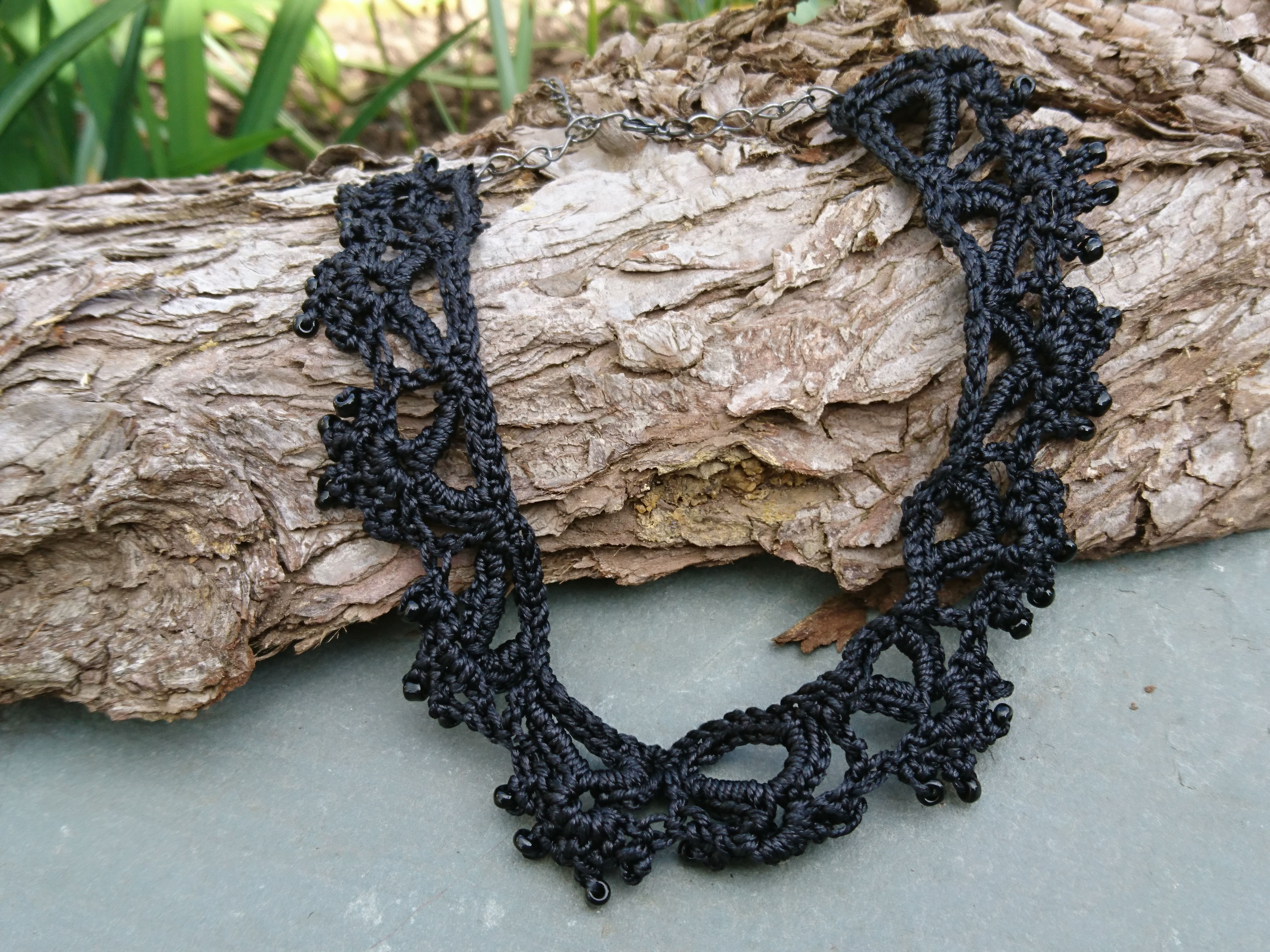 Black lacy choker gothic silk crochet necklace andiya black lacy choker gothic silk crochet necklace bankloansurffo Images