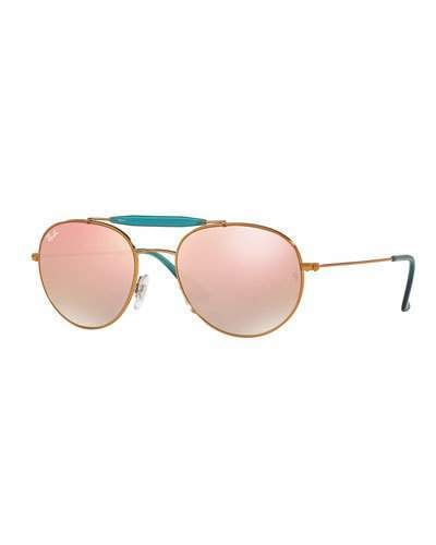 248c41bbdabf2e Ray-Ban Mirrored Round Brow-Bar Sunglasses, Copper Bronze -  185.00 ...
