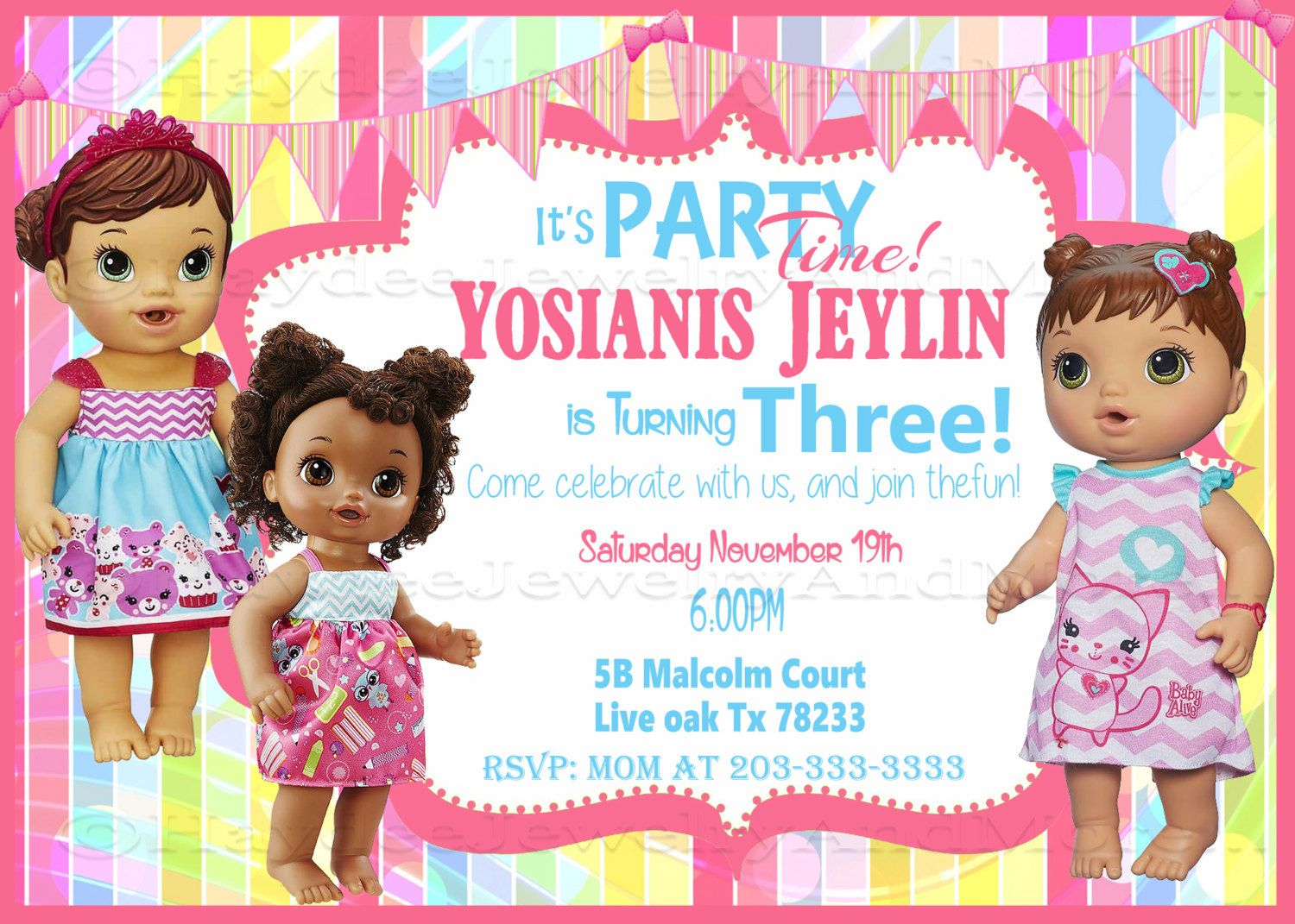Baby Alive Girl Birthday Invitation Baby Alive Theme Invitation Card Digital File Only By Haydeejewelryandm Birthday Invitations Girl Girl Birthday Baby Alive