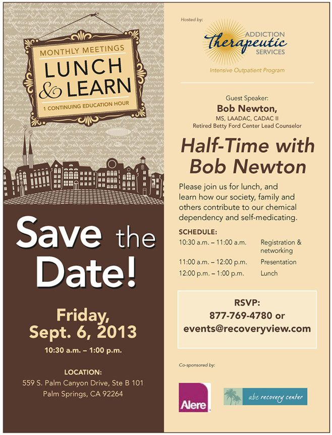 Sept 6 Lunch and Learn at Addiction Therapeutic Services - invitation flyer template
