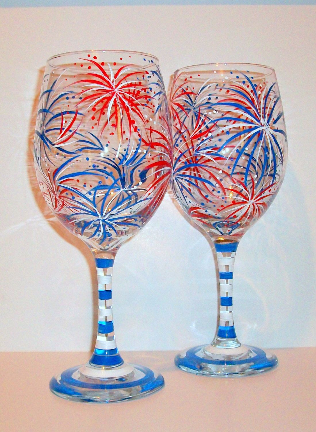 July Fourth Fireworks Hand Painted Wine Glasses Set of 2