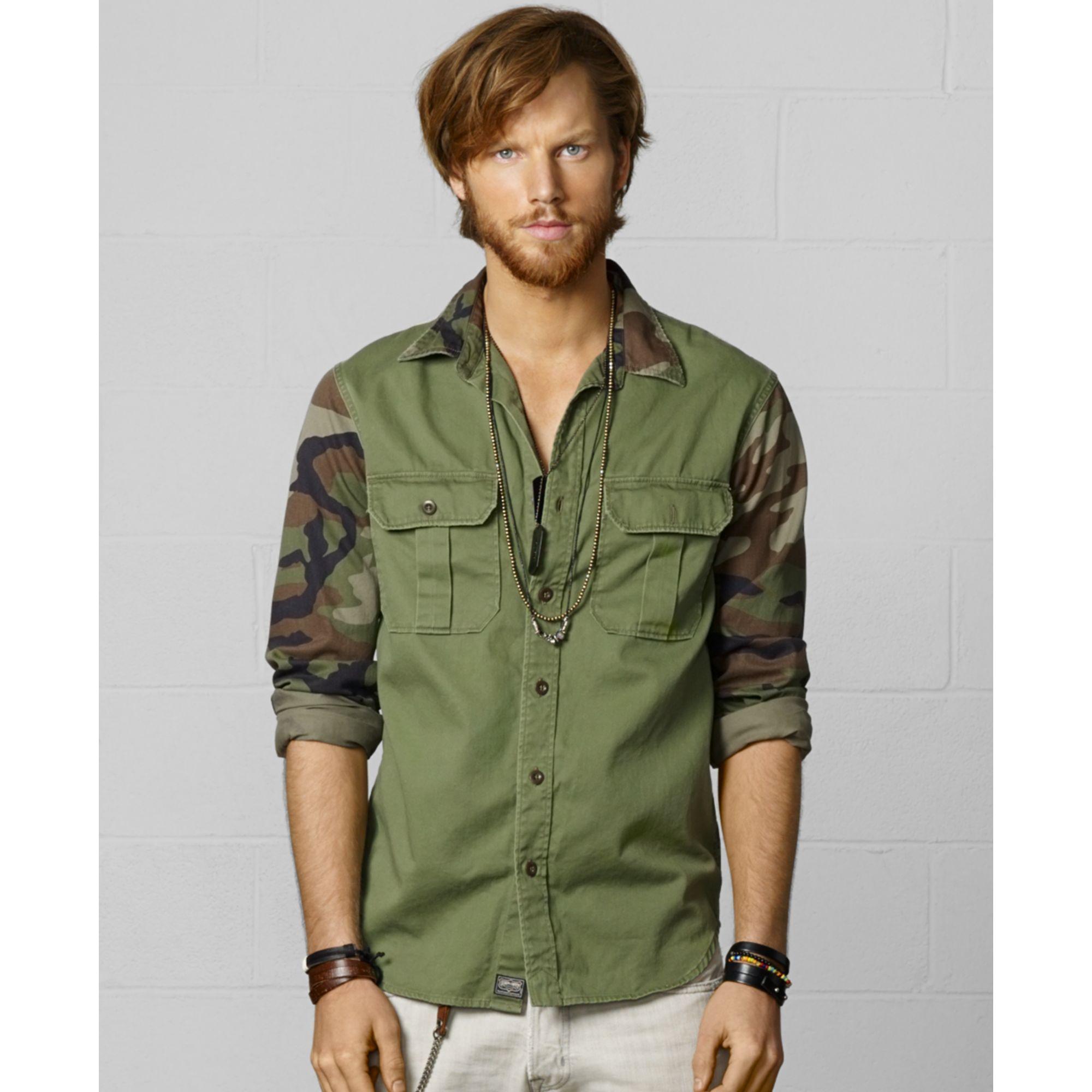 e917c34093 Denim   Supply Ralph Lauren Camosleeve Twill Shirt in Green for Men  (Military Camo)