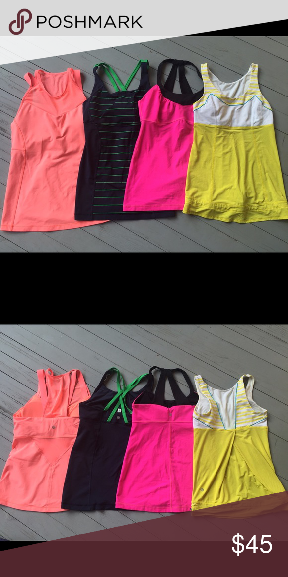 EACH- Lululemon tank tops, sizes 8 and 6 Please indicate which tank you are interested in. Running in the City, grapefruit, size 8 $45. Energy Tank, Greenbean inkwell, size 8 $45. Scoop Me Up tank, raspberry glo and black, size 8 $45. Tata Topper tank, yellow and spry, size 6 $36 lululemon athletica Tops Tank Tops