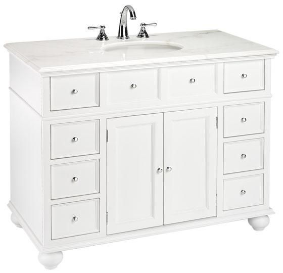 Hampton Bay 44 W Single Bath Vanity With White Marble Top From Home Decorators