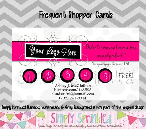 Business Frequent Buyer Shopper Reward Card Diy Printable By Simply Sprinkled Free Business Card Templates Mary Kay Business Cards Diy Business Cards
