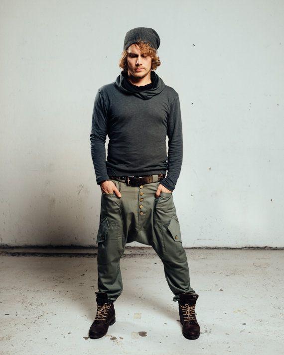 Pantalon De Haute Qualite Drop Crotch Cargo Pantalon Harem Etsy In 2020 Drop Crotch Pants Men Drop Crotch Harem Pants Drop Crotch Pants