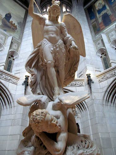 marble sculpture of the Archangel Michael overpowering Lucifer - Boston College