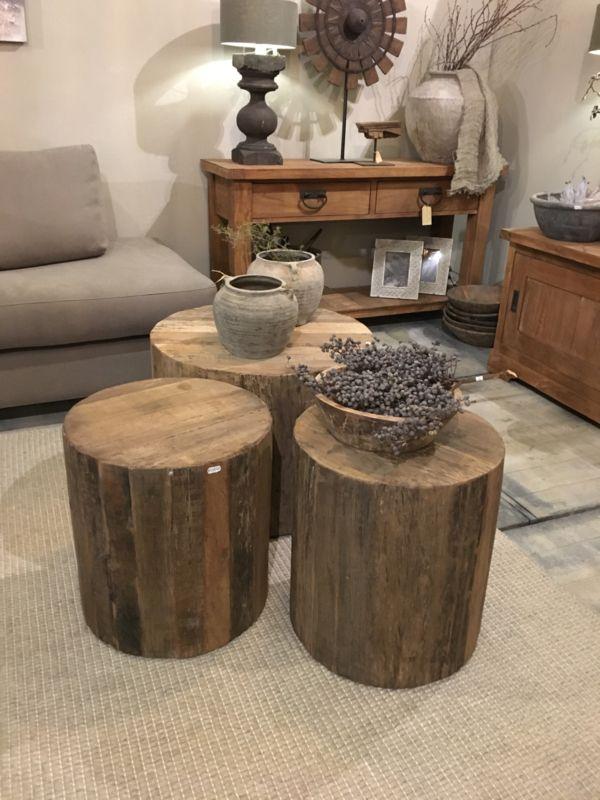 Stoere landelijke ronde boomstam salontafel groot for Boomstam decoratie
