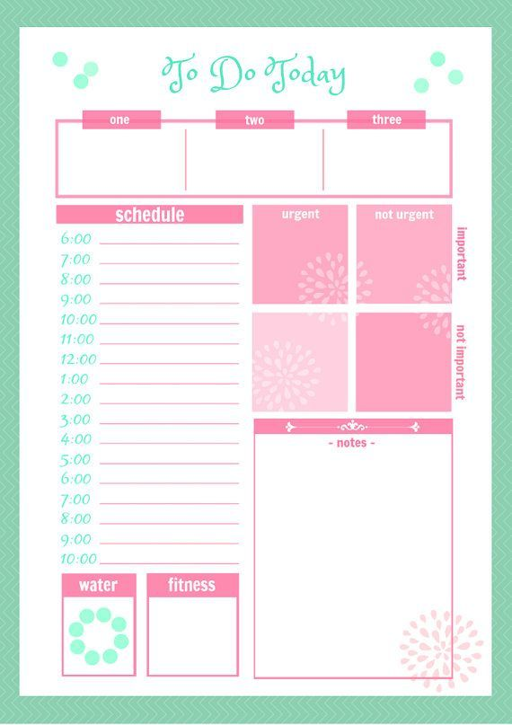 Cute Daily Planner Printable  Cute Daily Docket Printable By
