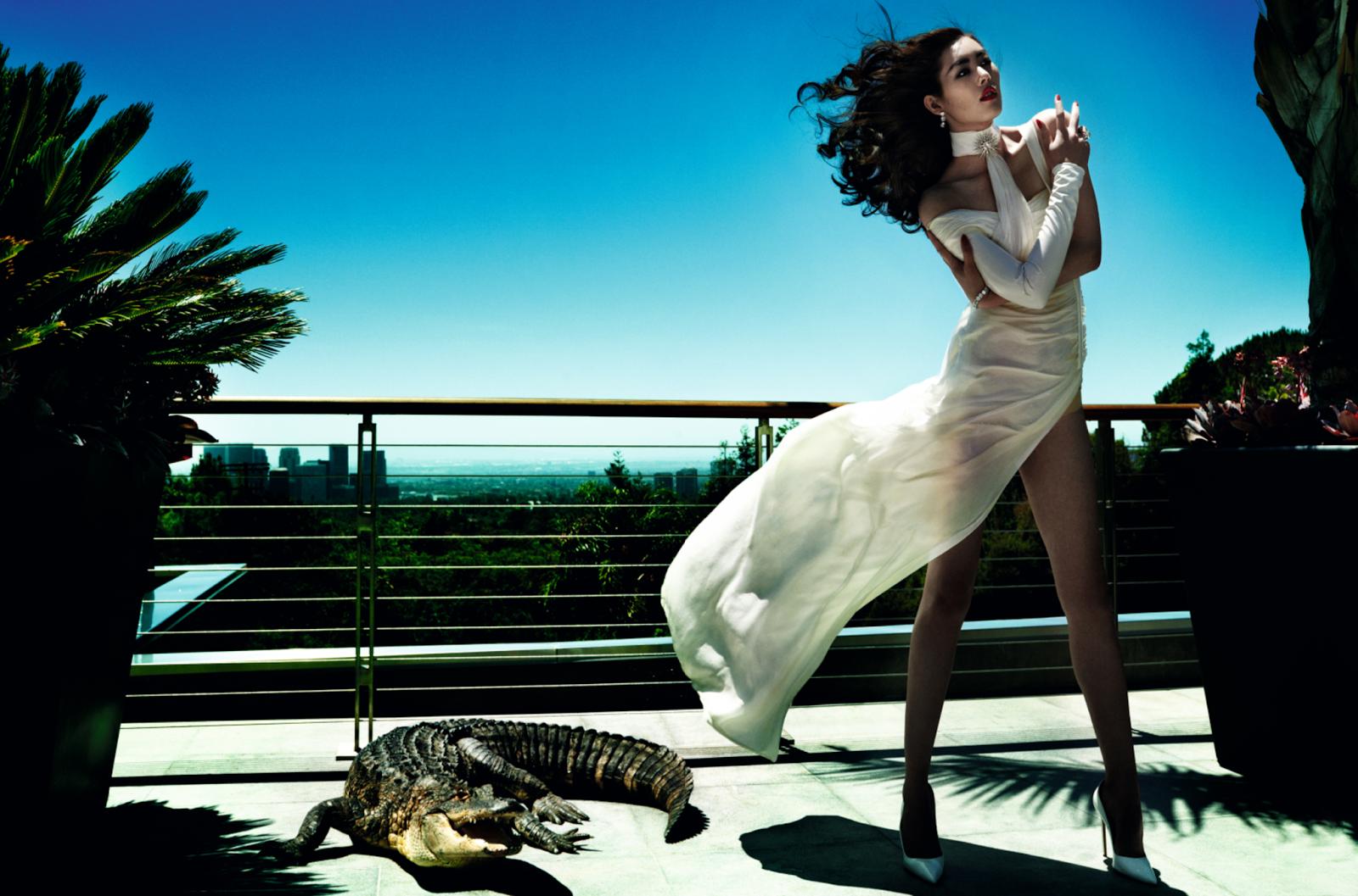 Savage Grace: Liu Wen shot by Mario Testino for Vogue China, December 2013