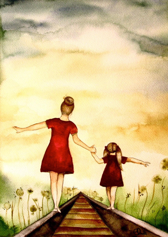 Mother And Daughter Path Art Print Printillustrations 18.00 Beautiful