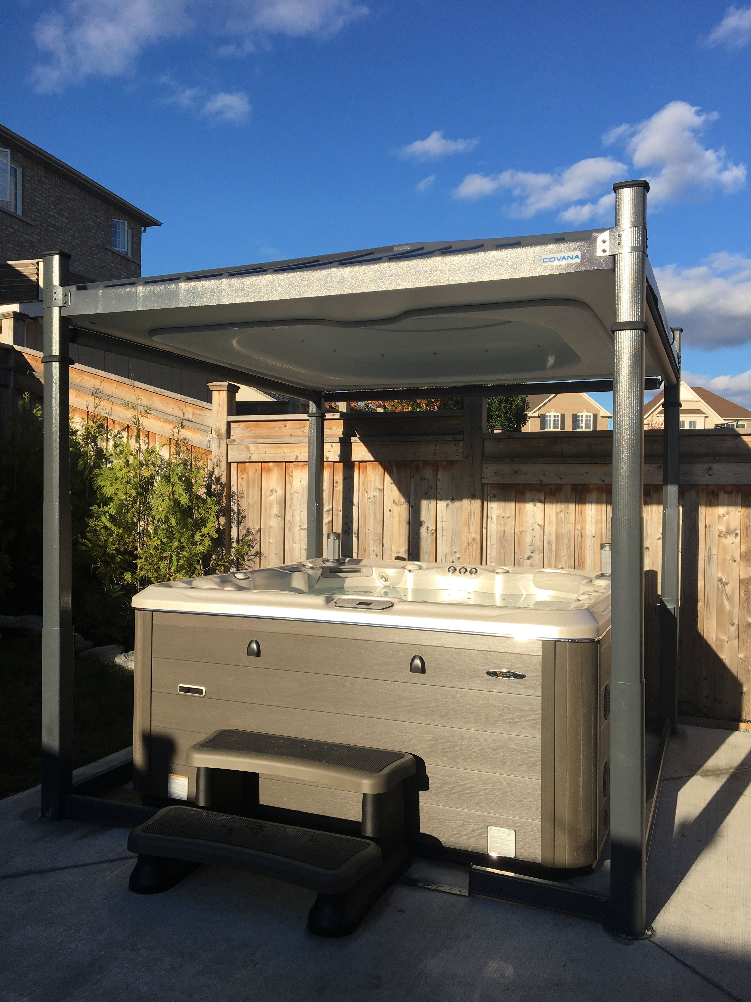 The Covana An Automatic Hot Tub And Swim Spa Cover Made In Canada The Most Energy Efficient Longest Lasting Hot Hot Tub Cover Tub Cover Hot Tub Accessories