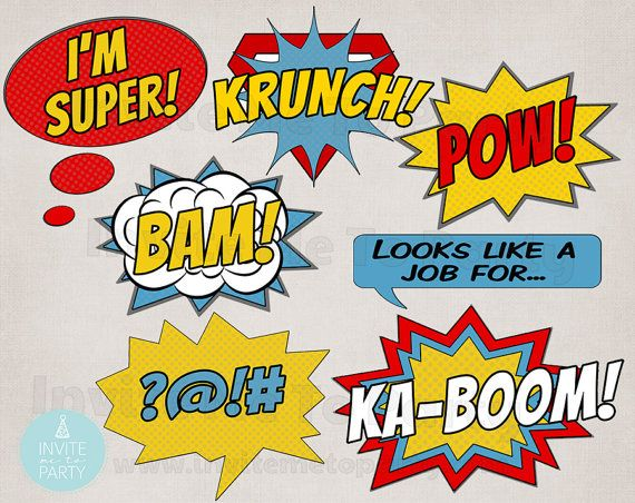 image about Free Printable Superhero Photo Booth Props called Comedian Photograph Booth Props Superhero Picture Booth Props