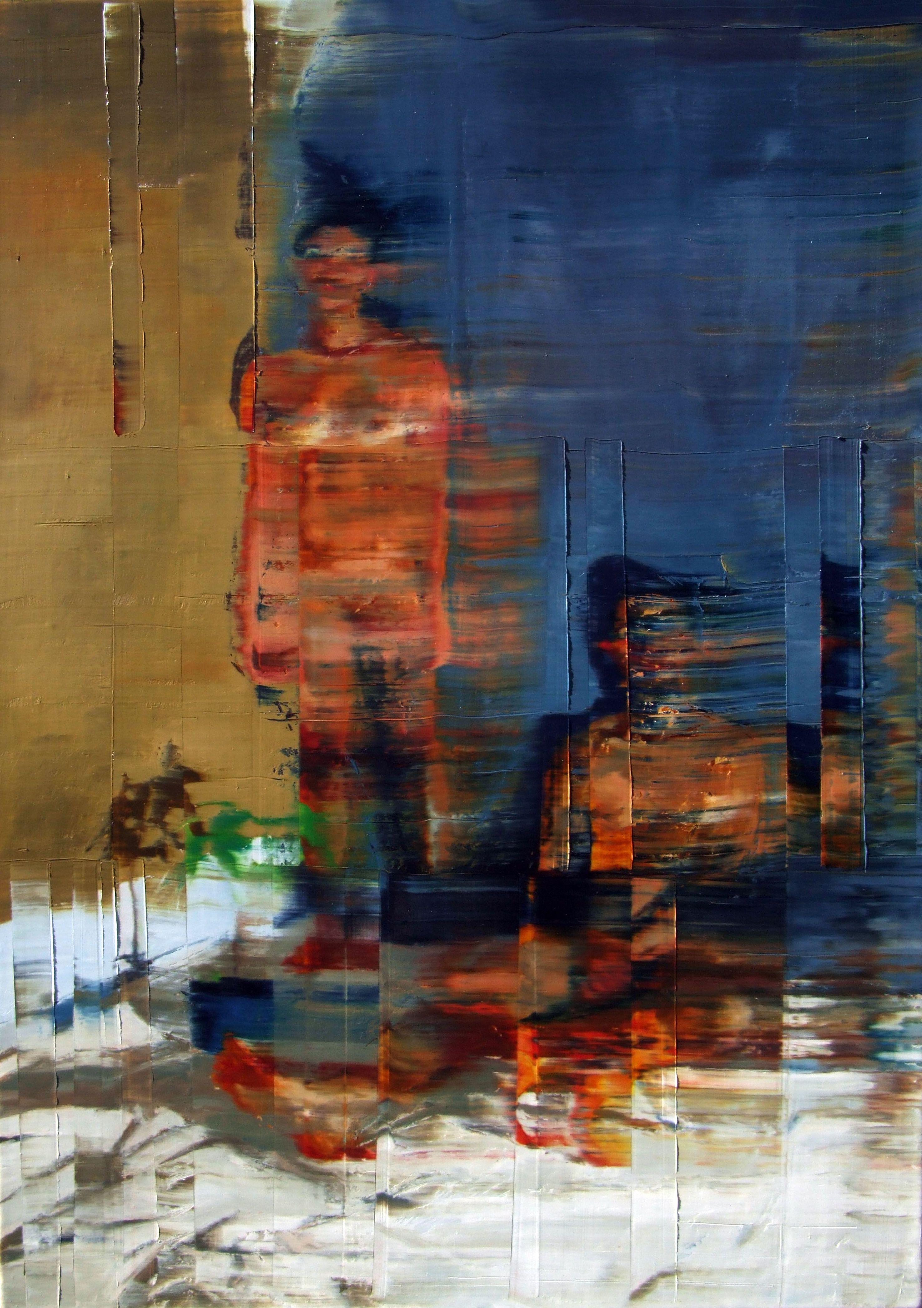 Casal nú com planta e fundo azul. OST. 92cmx 65cm. óleo sobre tela. Taigo Meireles.