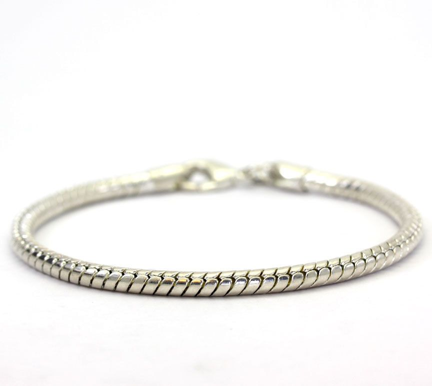 Sterling Silver Rounded Serpetine Chain Charm Bracelet