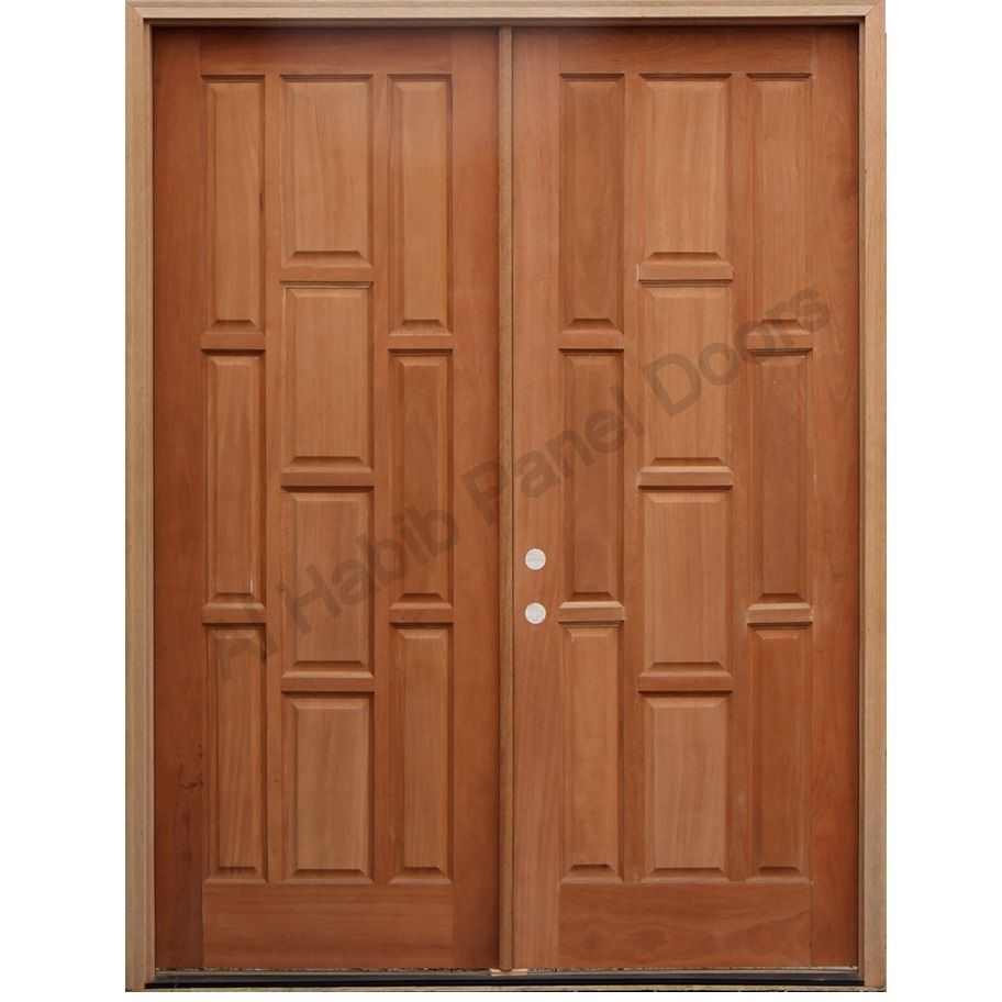 Solid wood main double door hpd413 main doors al habib for Wooden door designs pictures