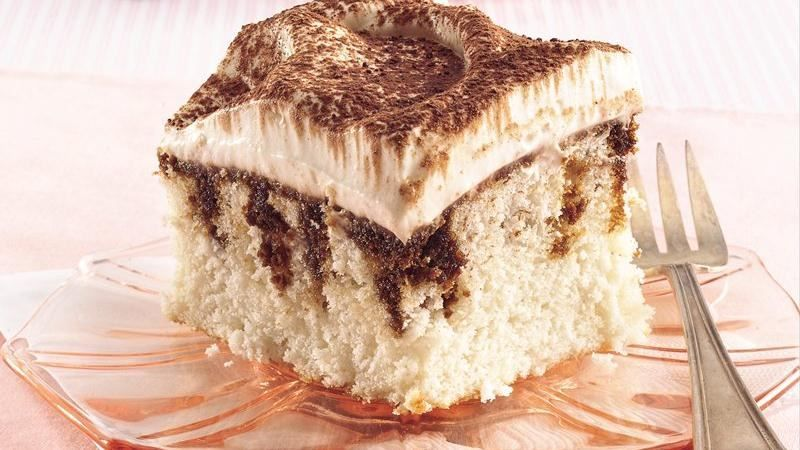 Get all the delicious flavors of traditional tiramisu made more easily with an easy poke technique and cake mix.