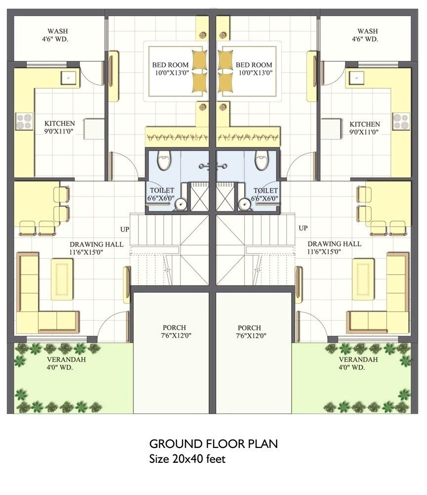 20x40 House Plan 3d (With images) | 20x40 house plans ...
