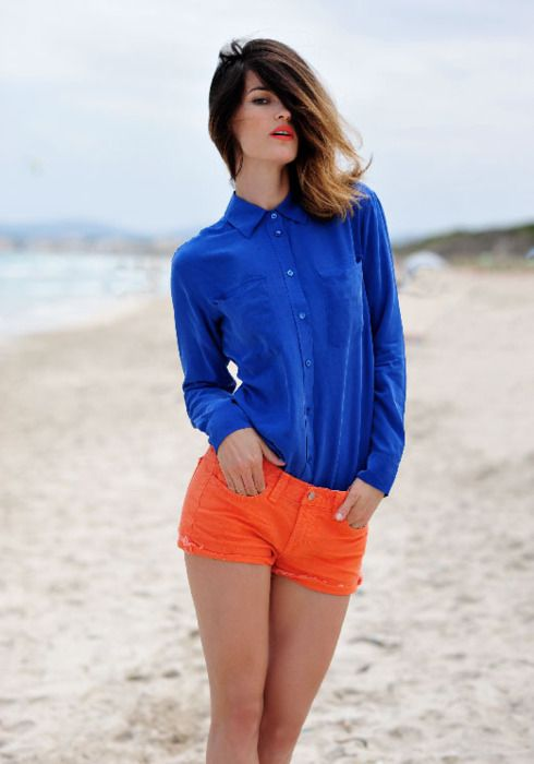 orange shirt blue shorts