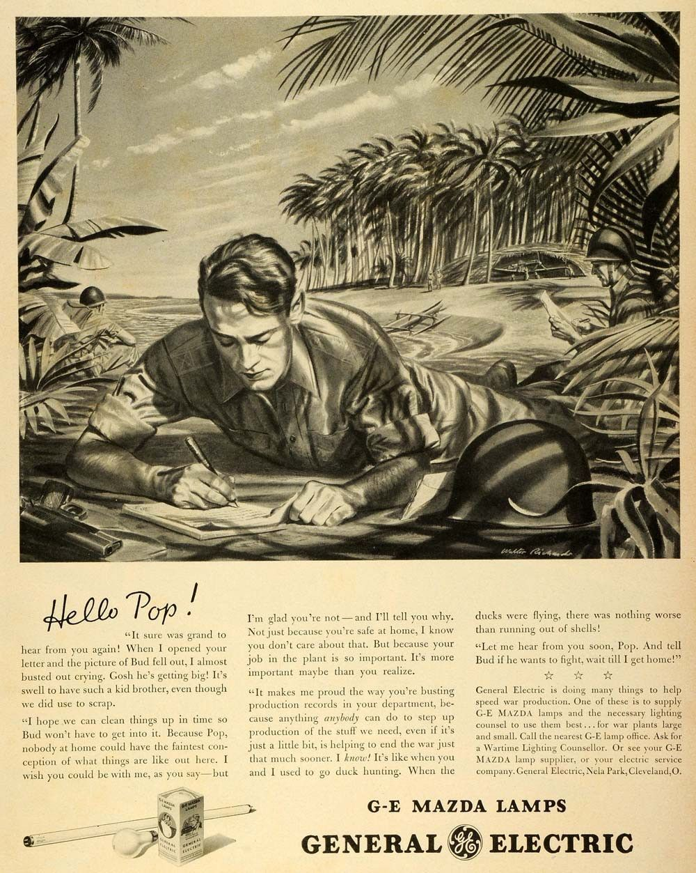 1943 Ad General Electric Mazda Lamps Light WWII Army Soldier Writing Letter LF4
