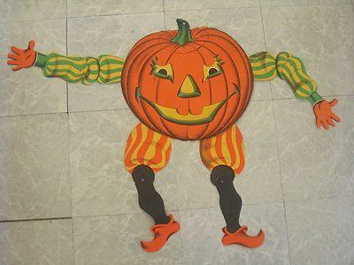Large vintage beistle halloween pumpkin man jester jointed die cut - vintage halloween decorations ebay