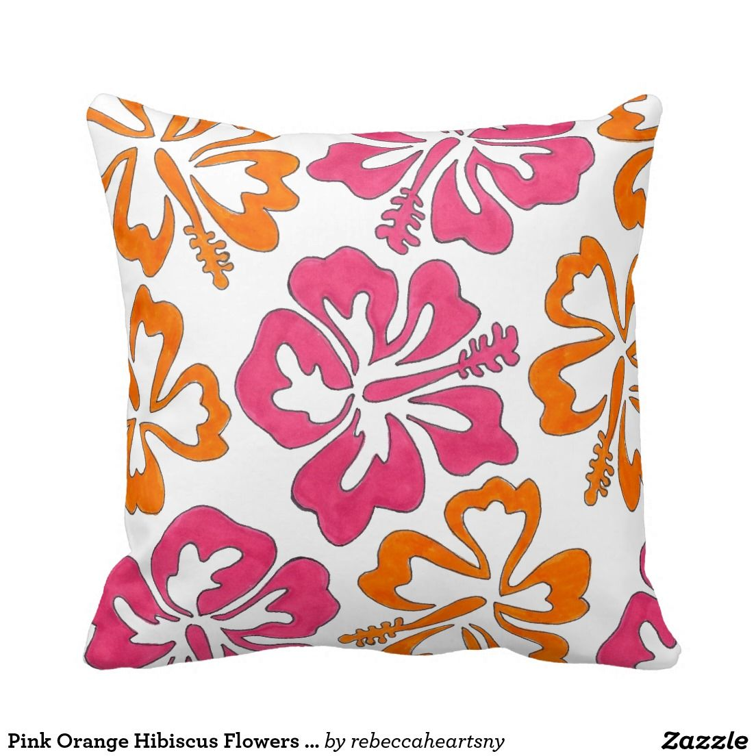 Pink Orange Tropical Hibiscus Flowers Floral Print Throw Pillow