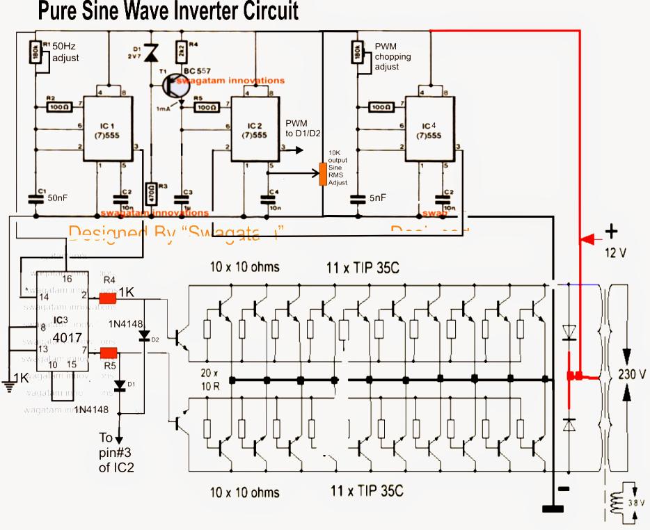 sine wave inverter circuit diagram as well pure sine wave inverter7 modified sine wave inverter circuits explored 100w to 3kva rh pinterest com