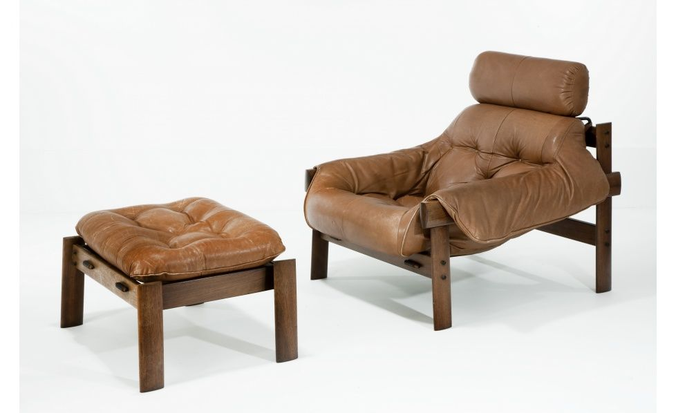 Leather chair and ottoman by Percival Lafer Seating