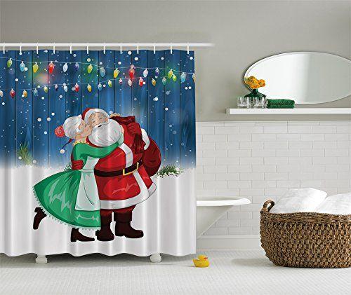 Ambesonne Mrs Claus And Santa Christmas Kiss Holiday Art Digital