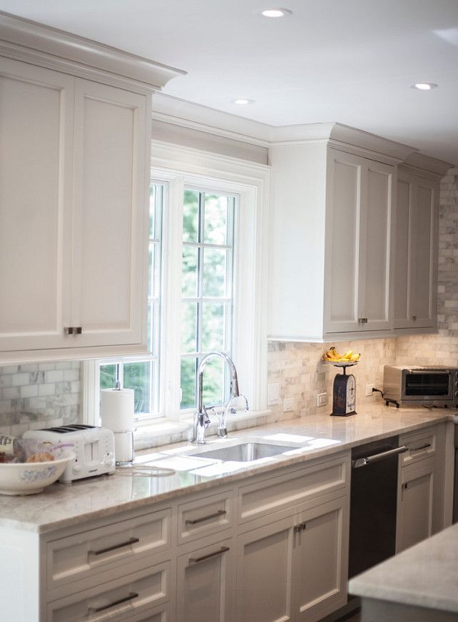 Pale Gray Kitchen Cabinet Paint Color. Palet Gray Kitchen. Kitchen with custom painted pale gray cabinets. #Kitchen #GrayKitchen…