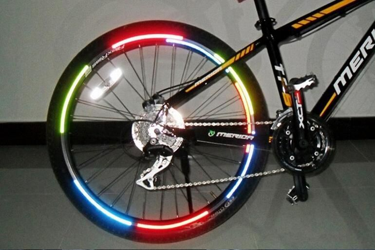 2Pcs Mountain Bike Reflective Stickers Frame Wheel Stickers Bicycle Accessories