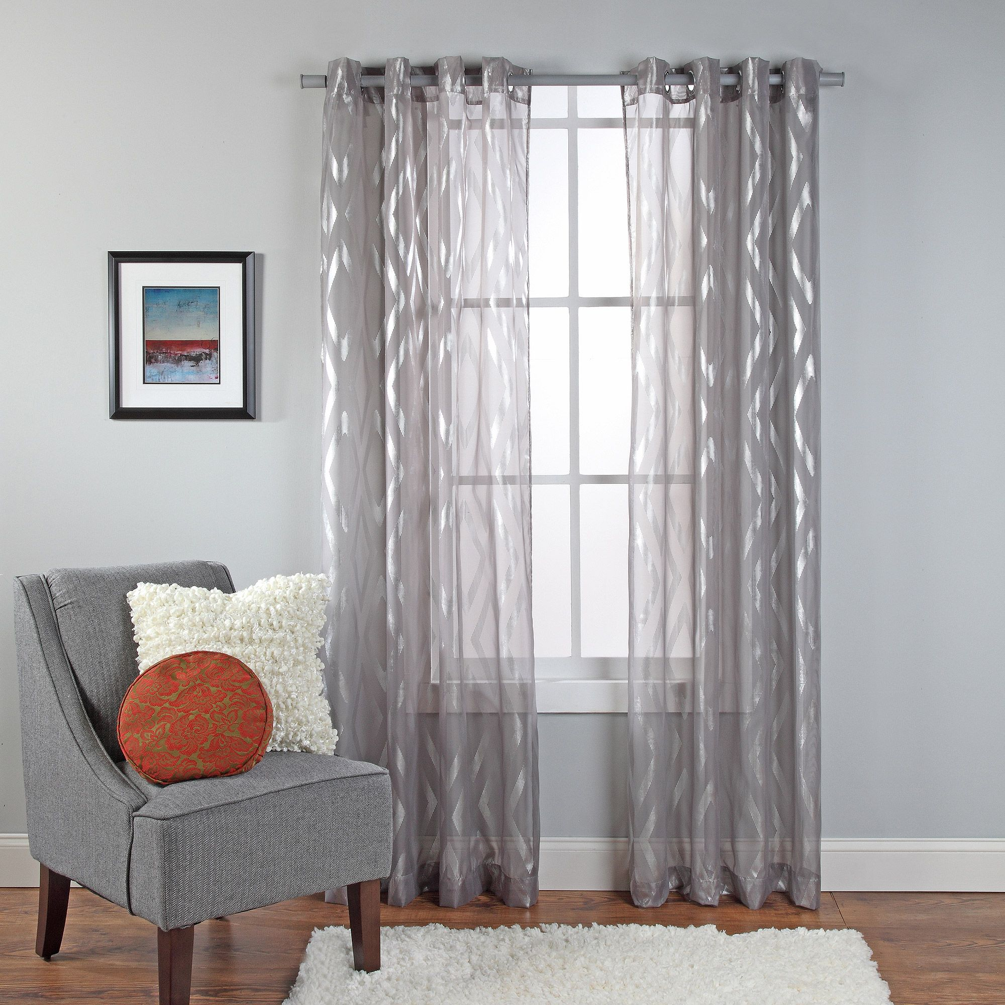 Delancey Metallic Print Sheer Grommet Window Panel | Ks | Pinterest ...