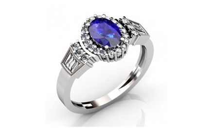 925 Silver Ring Natural #Tanzanite Oval Cut 7.5x5.5mm & White Topaz #Ring