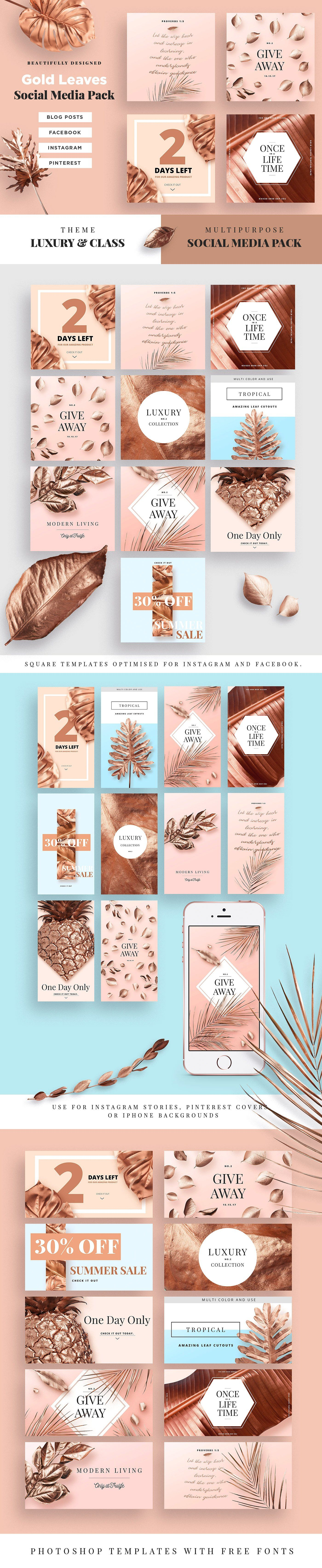 Gold Leaves by Fox & Bear on @creativemarket