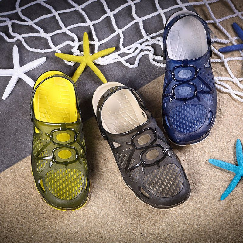 Men/'s Summer Slingbacks Jelly Soft Shoes Close Toe Sandals Beach Slippers Hollow