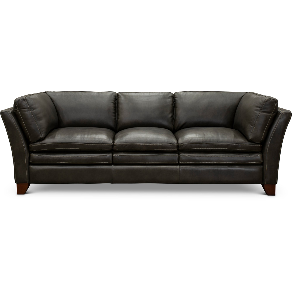Contemporary Charcoal Gray Leather Sofa
