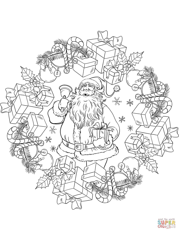 Christmas Mandala With Santa Claus And Presents Super Coloring