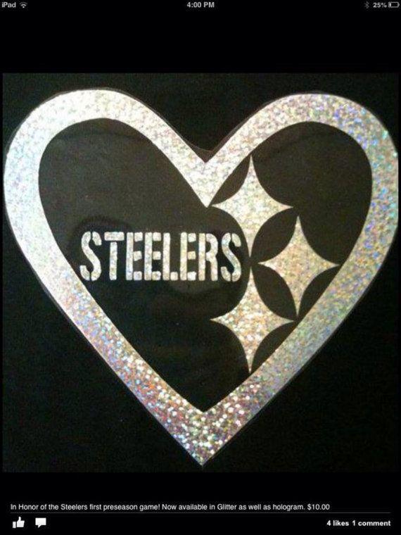 932b3d162 Pittsburgh Steelers inspired glitter heart logo tshirt on Etsy ...