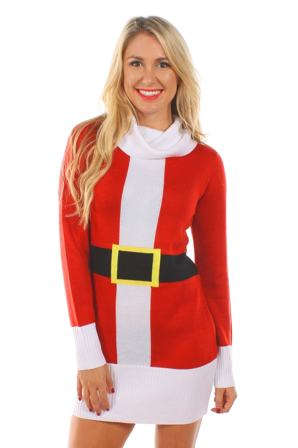 a1bea54817a00 It's not fair that men always get to play Santa. This Christmas sweater  dress levels the playing field, giving the ladies a chance to shine!