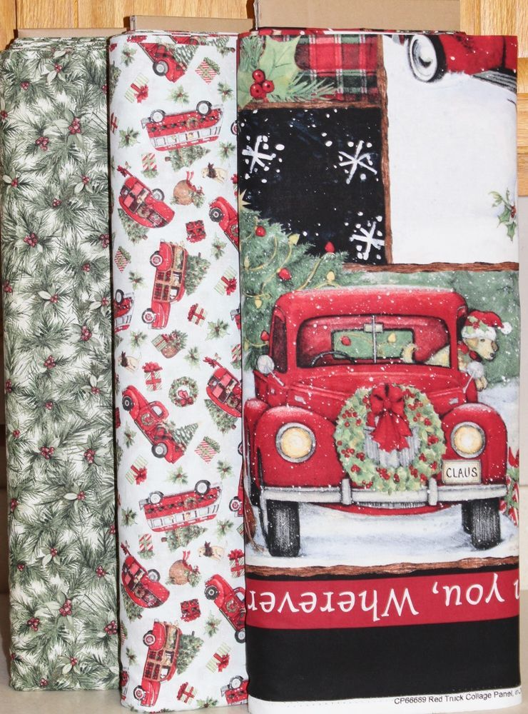 Christmas Red Truck Panel \u0026 Pine Truck Fabric Susan Winget