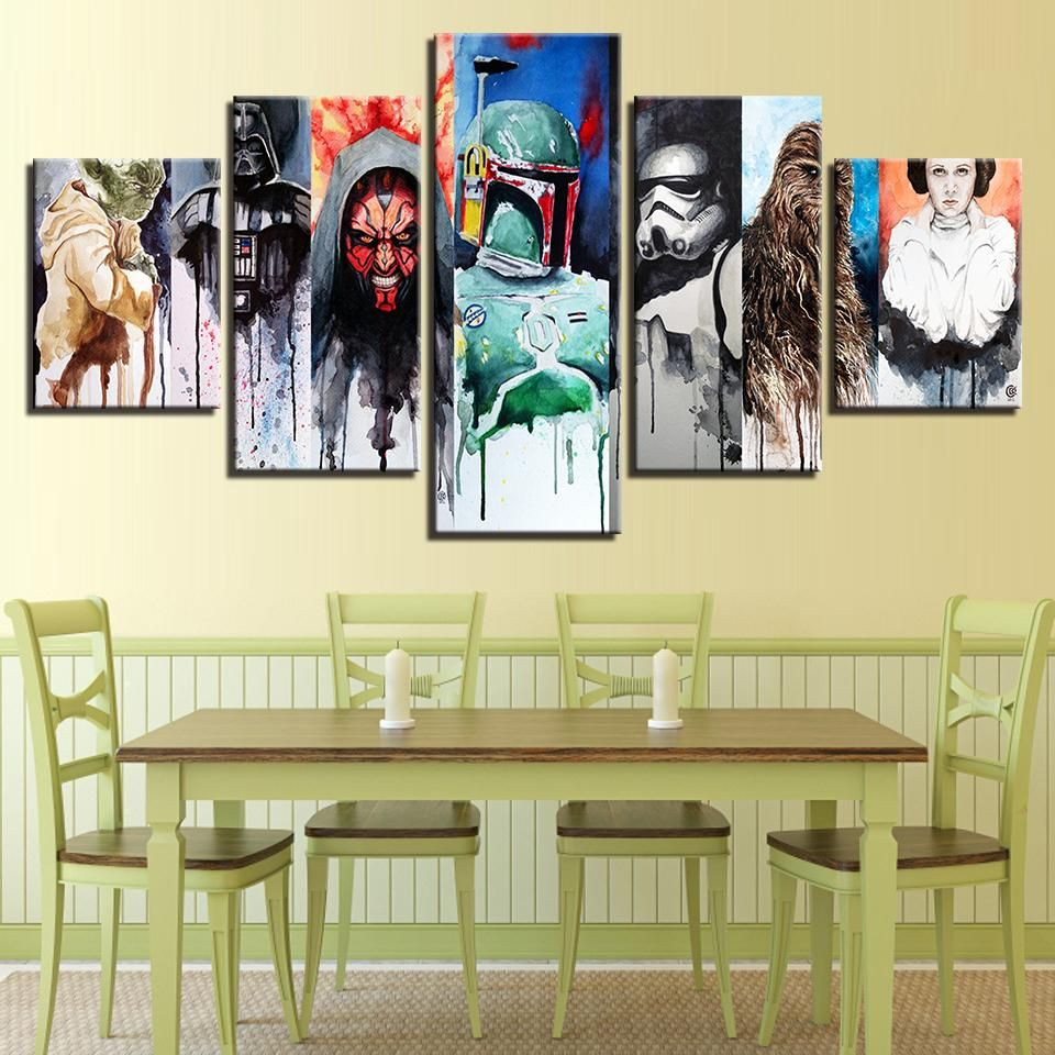 Star Wars Yoda Darth Maul Vader Stormtrooper Lia Chewbacca Abstract ...