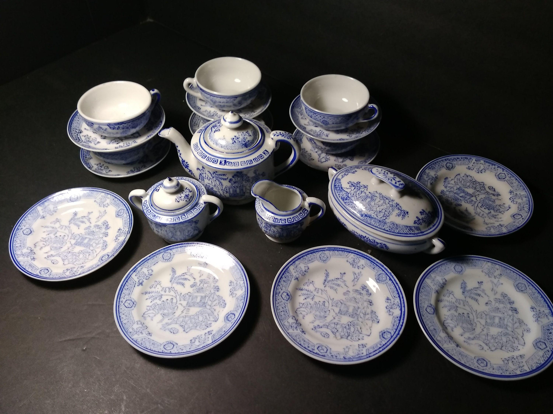 Antique child's tea set service blue on white porcelain 21